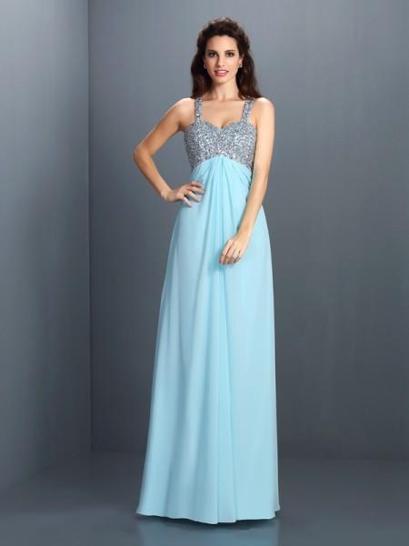 Trapèze/Princesse Avec bretelles Perles Sans Manches Longue Mousseline Robes