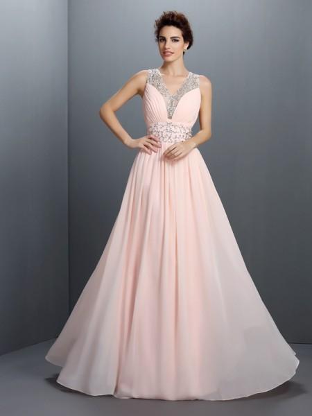 Trapèze/Princesse Col en V Perles Sans Manches Longue Mousseline Robes