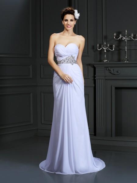 Fourreau Col en coeur Perles Sans Manches Longue Mousseline Robes de Mariée