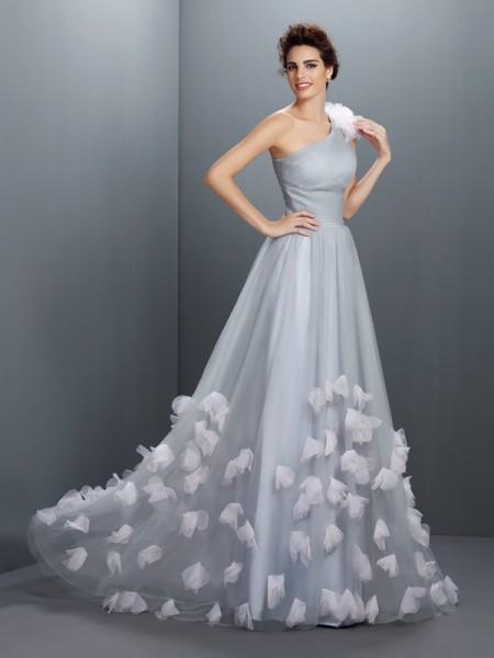 Trapèze/Princesse Col asymétrique Fleurs faites à la main Sans Manches Longue Voile Robes