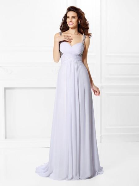 Trapèze/Princesse Avec bretelles Plis Perles Sans Manches Longue Mousseline Robes
