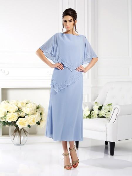 Fourreau Col bateau Manches ½ Longue Mousseline Robes des mères des mariés