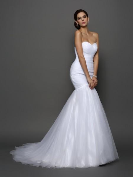 Sirène/Trompette Col en coeur Plis Sans Manches Longue Voile Robes de Mariée
