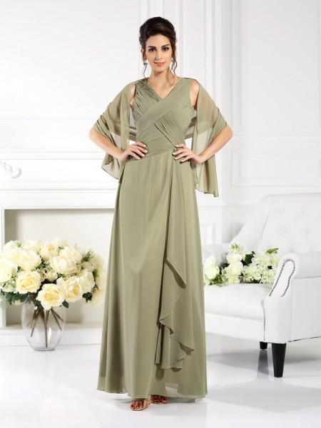 Trapèze/Princesse Col en V Plis Sans Manches Longue Mousseline Robes des mères des mariés
