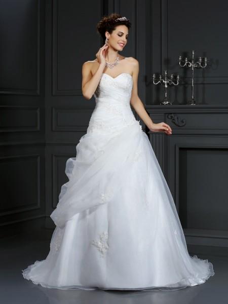 Robe de bal Col en coeur Perles Sans Manches Longue Organza Robes de Mariée