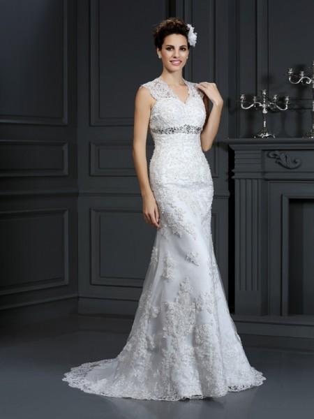 Fourreau Col en V Perles Sans Manches Longue Dentelle Robes de Mariée