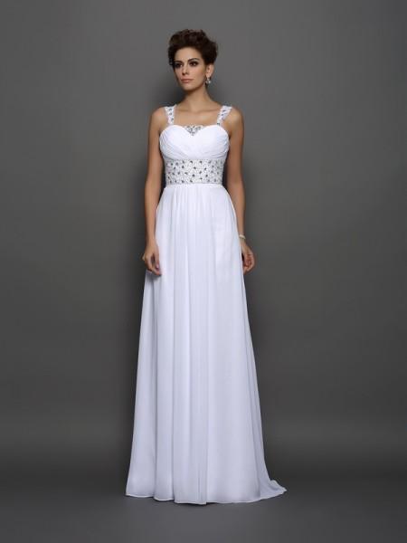 Trapèze/Princesse Avec bretelles Perles Sans Manches Longue Mousseline Robes de Mariée