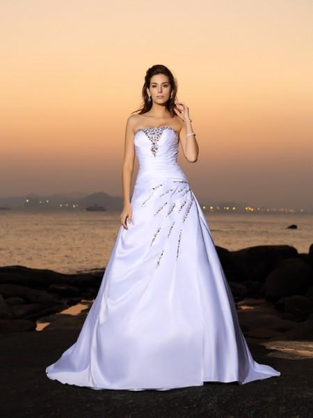 Trapèze/Princesse Sans bretelles Perles Sans Manches Longue Satin Plage Robes de Mariée