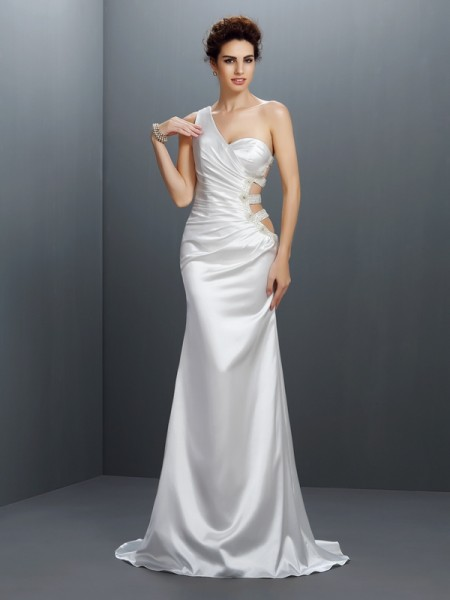 Sirène/Trompette Col asymétrique Perles Sans Manches Longue Satin stretch Robes