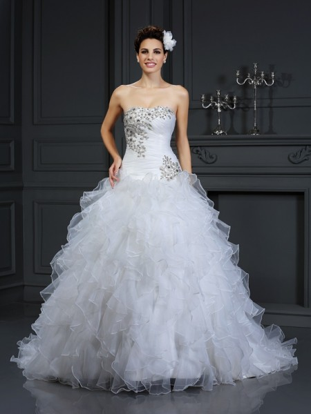 Robe de bal Sans bretelles Perles Sans Manches Longue Organza Robes de Mariée