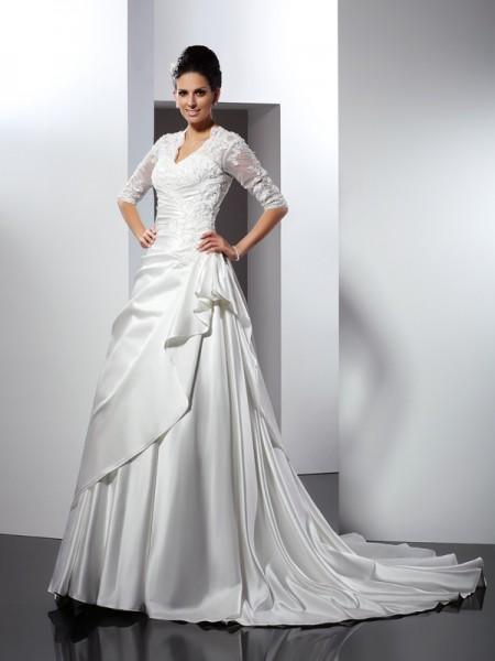 Trapèze/Princesse Col en V Appliqués Manches ½ Longue Satin Robes de Mariée