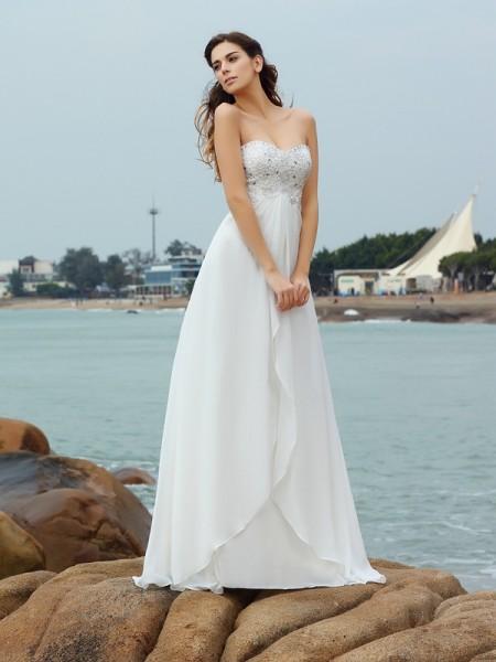 Trapèze/Princesse Col en coeur Perles Sans Manches Longue Mousseline Plage Robes de Mariée