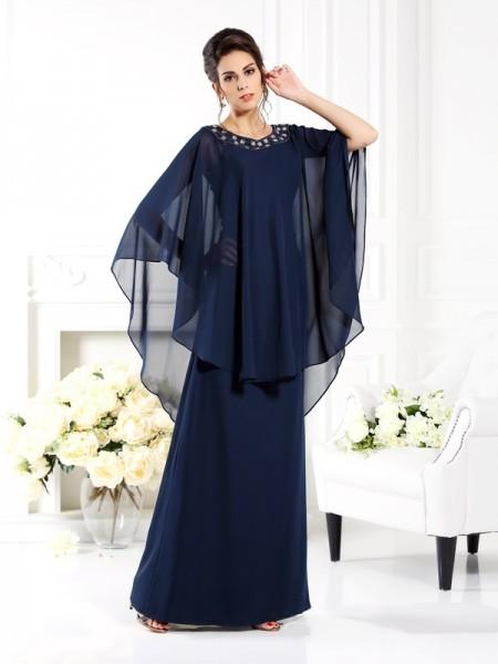Trapèze/Princesse Col plongeant Manches ¾ Longue Mousseline Robes des mères des mariés