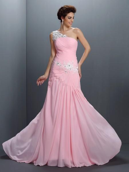 Trapèze/Princesse Col asymétrique Perles Sans Manches Appliqués Longue Mousseline Robes