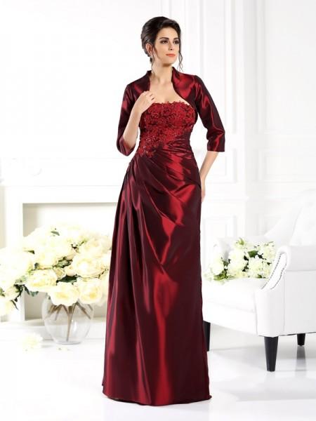 Trapèze/Princesse Sans bretelles Appliqués Manches ½ Longue Taffetas Robes des mères des mariés