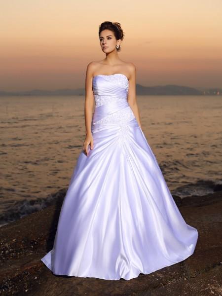 Robe de bal Sans bretelles Perles Sans Manches Longue Satin Plage Robes de Mariée