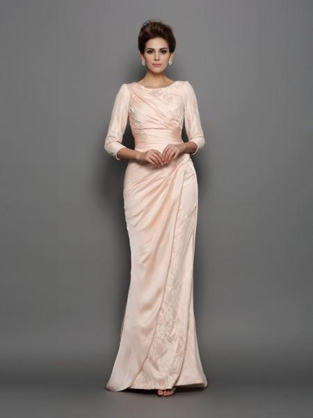 Sirène/Trompette Col bateau Dentelle Manches ¾ Longue Mousseline Robes des mères des mariés