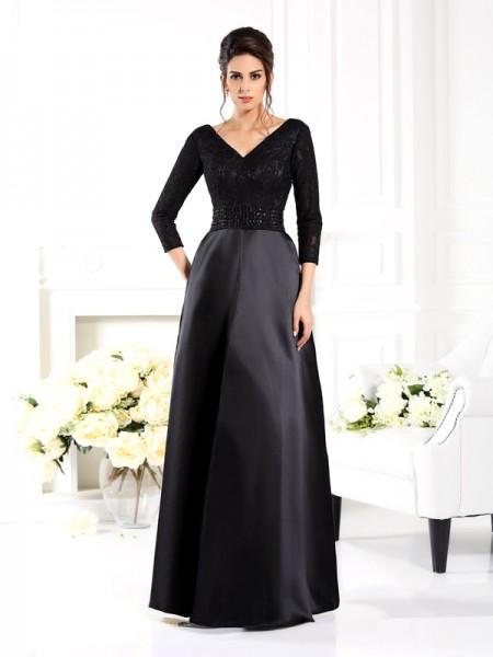 Trapèze/Princesse Col en V Perles Manches ¾ Longue Satin Robes des mères des mariés