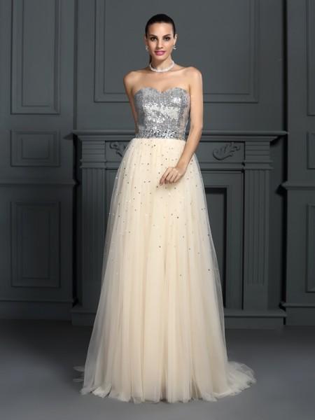 Trapèze/Princesse Col en coeur Perles Sans Manches Longue Dentelle Robes