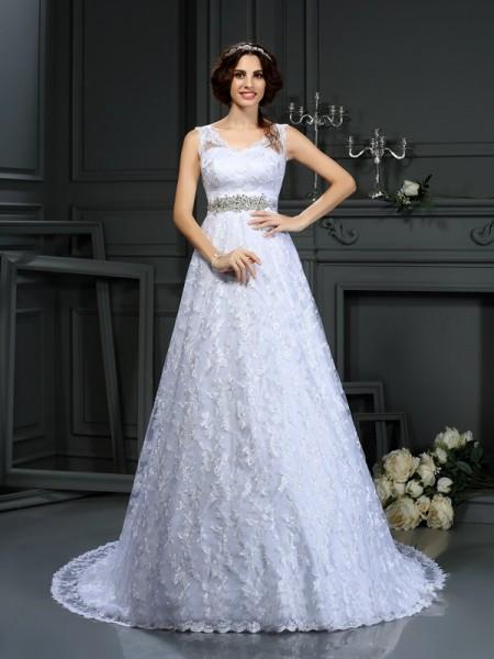 Trapèze/Princesse Col en V Dentelle Sans Manches Longue Satin Robes de Mariée