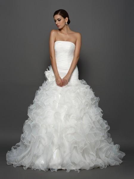 Robe de bal Sans bretelles Fleurs faites à la main Sans Manches Longue Organza Robes de Mariée