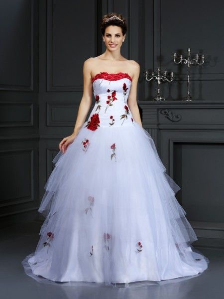 Robe de bal Sans bretelles Fleurs faites à la main Sans Manches Longue Satin Robes de Mariée