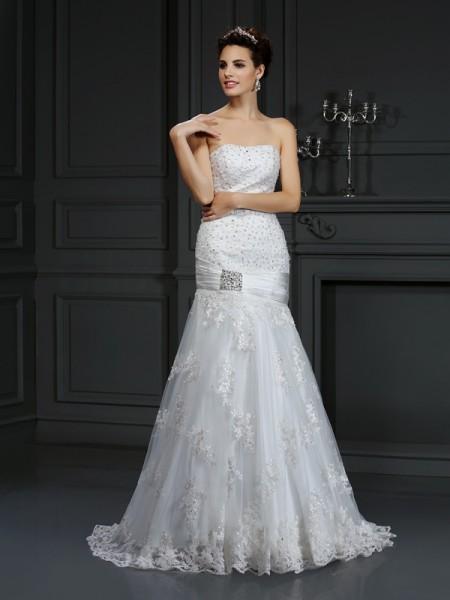 Fourreau Sans bretelles Appliqués Sans Manches Longue Satin Robes de Mariée
