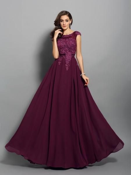 Trapèze/Princesse Col plongeant Appliqués Sans Manches Longue Mousseline Robes