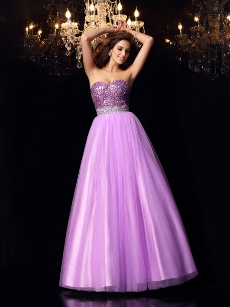 Robe de bal Col en coeur Sequins Sans Manches Longue Satin stretch Robes de Quinceanera