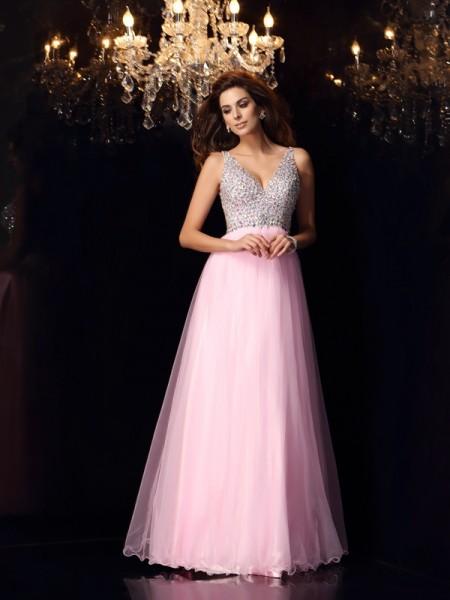 Trapèze/Princesse Col en V Volants Sans Manches Longue Satin stretch Robes