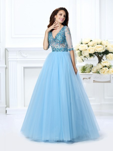 Robe de bal Col en V Perles Manches ½ Longue Satin Robes de Quinceanera