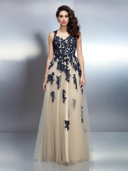 Trapèze/Princesse Avec bretelles Appliqués Sans Manches Longue Satin stretch Robes