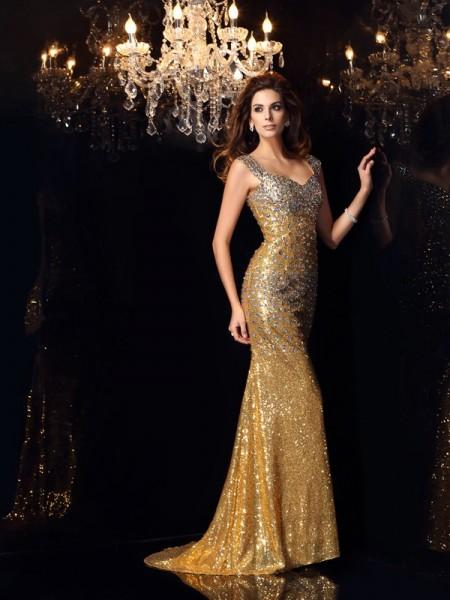 Sirène/Trompette Avec bretelles Faux diamants Sans Manches Longue Sequinss Robes