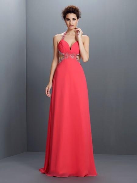 Trapèze/Princesse Licou Perles Sans Manches Longue Mousseline Robes