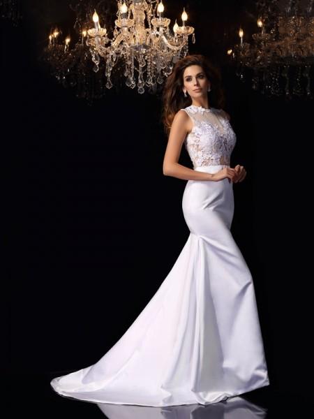 Sirène/Trompette Col montant Appliqués Sans Manches Longue Satin Robes de Mariée