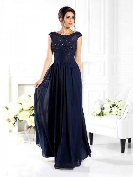 Trapèze/Princesse Col plongeant Perles Sans Manches Longue Mousseline Robes des mères des mariés