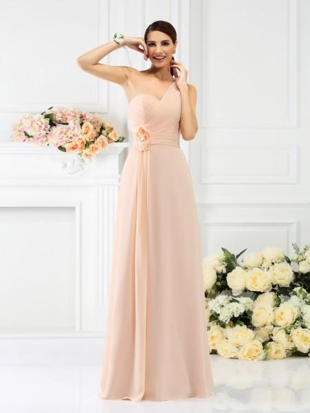 Trapèze/Princesse Col asymétrique Plis Sans Manches Longue Mousseline Robes de demoiselle d'honneur