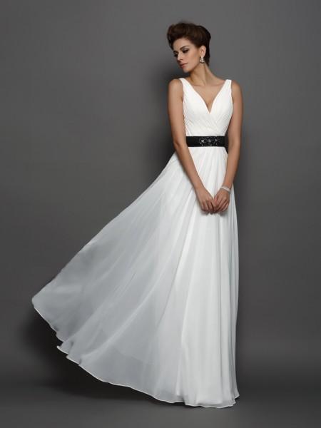 Trapèze/Princesse Col en V Rubans/Ceintures Sans Manches Longue Mousseline Robes de Mariée