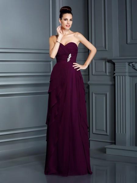 Trapèze/Princesse Col en coeur Volants Sans Manches Longue Mousseline Robes