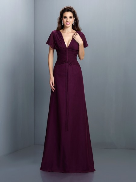 Trapèze/Princesse Col en V Froncée Manches courtes Longue Mousseline Robes