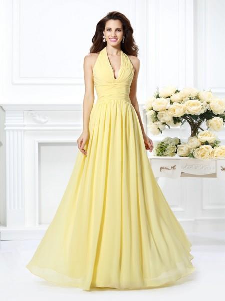 Trapèze/Princesse Licou Plis Sans Manches Longue Mousseline Robes de demoiselle d'honneur