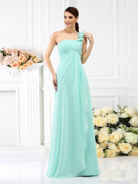 Trapèze Princesse Col asymétrique Plis Sans Manches Longue Mousseline Robes  de demoiselle d honneur 6591addfd42d