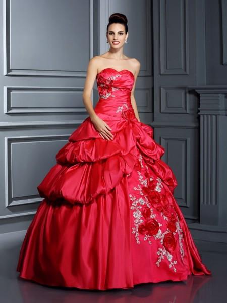 Robe de bal Col en coeur Fleurs faites à la main Sans Manches Longue Taffetas Robes de Quinceanera