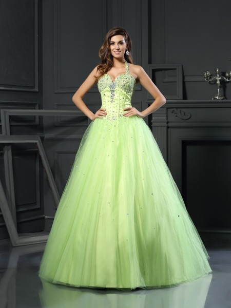 Robe de bal Licou Perles Sans Manches Longue Satin Robes de Quinceanera