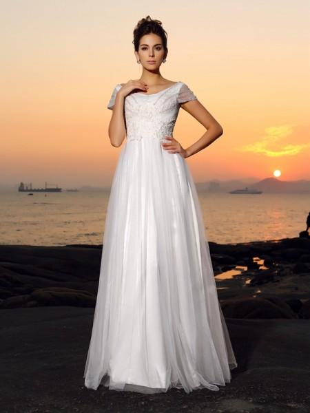Trapèze/Princesse Épaules dégagées Perles Manches courtes Longue Tulle Plage Robes de Mariée