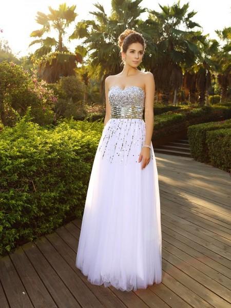 Trapèze/Princesse Col en coeur Perles Sans Manches Longue Organza Robes