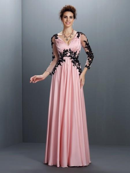 Trapèze/Princesse Col en V Appliqués Manches ¾ Longue Mousseline Robes