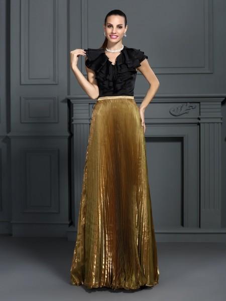 Trapèze/Princesse Col en V Plis Sans Manches Longue Tulle Robes