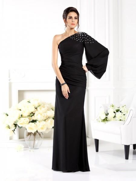 Fourreau Col asymétrique Perles Manches Longueues Longue Mousseline Robes des mères des mariés