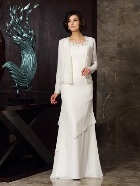 Fourreau Col plongeant Perles Sans Manches Longue Mousseline Robes des mères des mariés